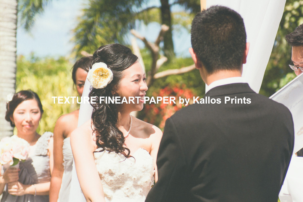 100% cotton base, Texture Fineart Paper printing by Kallos Studio, calgary wedding photographers taeho style provided hawaii wedding photo
